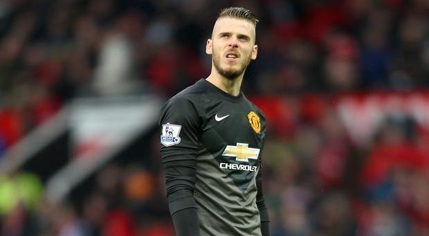 David de Gea, pictured centre, will not feature for Manchester United at Aston Villa
