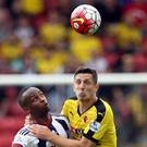 Saido Berahino, left, missed a late chance to earn West Brom the win against Watford
