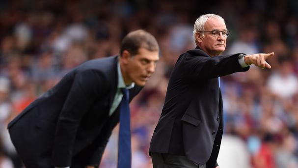 Leicester boss Claudio Ranieri, right, saw his side go top of the table with a win at West Ham.