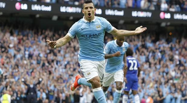 Sergio Aguero celebrates scoring the first goal in Manchester City's 3-0 win over Chelsea