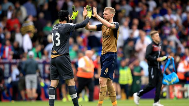 Arsenal defender Per Mertesacker, right, has every confidence in goalkeeper Petr Cech