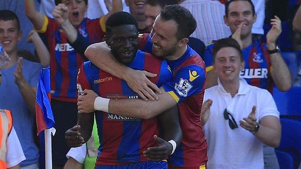 Bakary Sako, left, earned the points for Crystal Palace