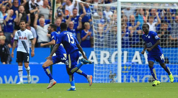 Riyad Mahrez, second from left, celebrates his equaliser
