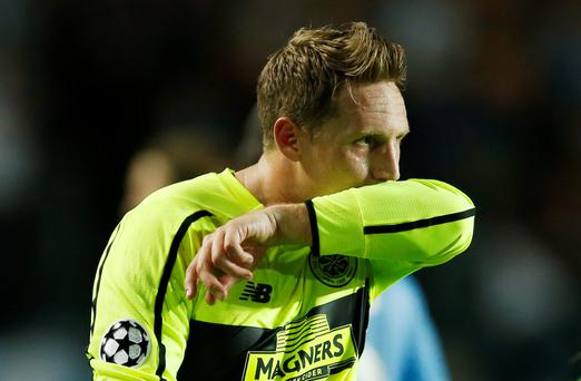 Celtic's Kris Commons looks dejected at the end of last night's Champions League qualifying play-off