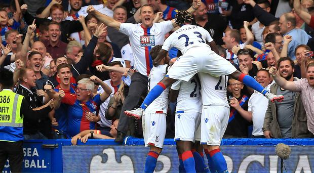 Crystal Palace celebrate Bakary Sako's goal against Chelsea