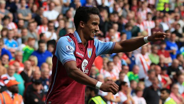 Scott Sinclair celebrates scoring his second goal in Aston Villa's 2-2 draw with Sunderland