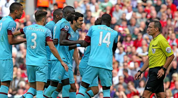 West Ham have been punished for their players' reaction to Mark Noble's red card at Anfield