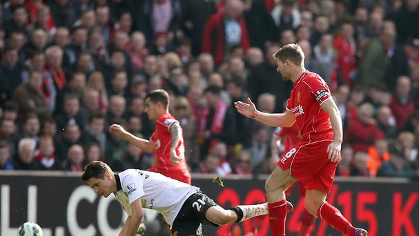 Steven Gerrard's final apperance against Manchester United lasted just 38 seconds