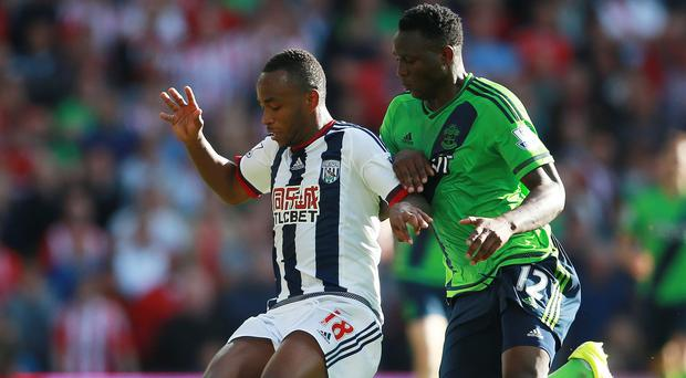 Saido Berahino, left, was back in West Brom's colours on Saturday