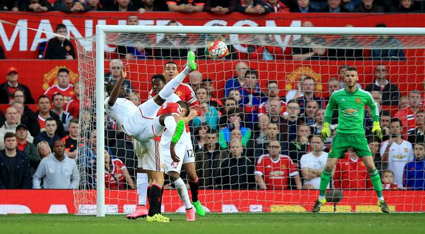 Christian Benteke scores against Manchester United