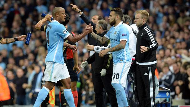 Nicolas Otamendi, right, could replace Vincent Kompany, left, for Manchester City this weekend