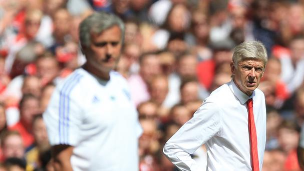 Jose Mourinho ,left, and Arsene Wenger will go head-to-head again in the Barclays Premier League