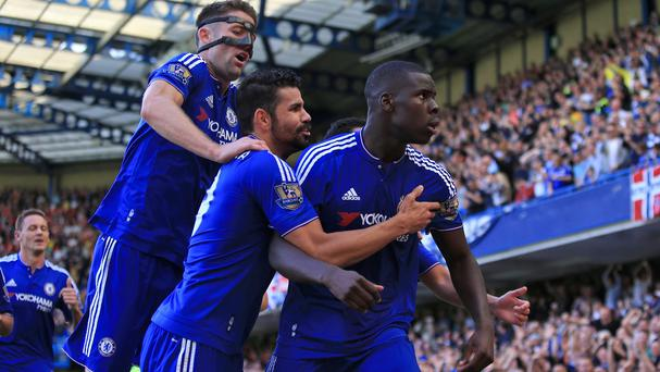 Kurt Zouma, right, was on target with Chelsea's opener
