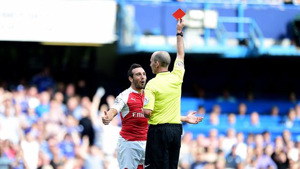 Santi Cazorla was one of two Arsenal players dismissed at Stamford Bridge