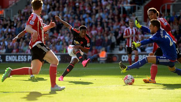Anthony Martial scores Manchester United's first goal