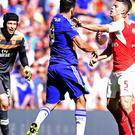 Chelsea's Diego Costa, centre, can expect to find out on Monday if he will face retrospective action from the Football Association