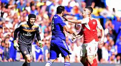 Arsenal's Gabriel, right, was sent off after clashing with Chelsea's Diego Costa on Saturday