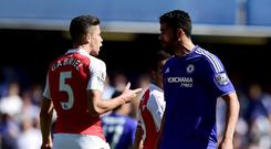 Arsenal's Gabriel, left, and Chelsea's Diego Costa squared up at Stamford Bridge
