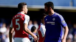 Arsenal defender Gabriel, left, had his suspension overturned
