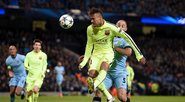 Neymar, front, spoke to Manchester United representatives this summer