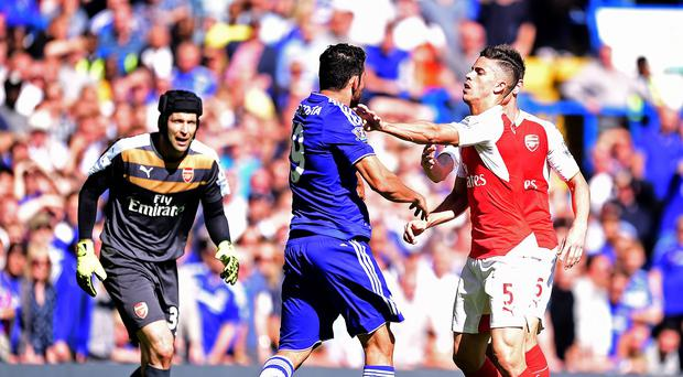 Tempers frayed between Diego Costa and Gabriel, right, at Stamford Bridge last weekend