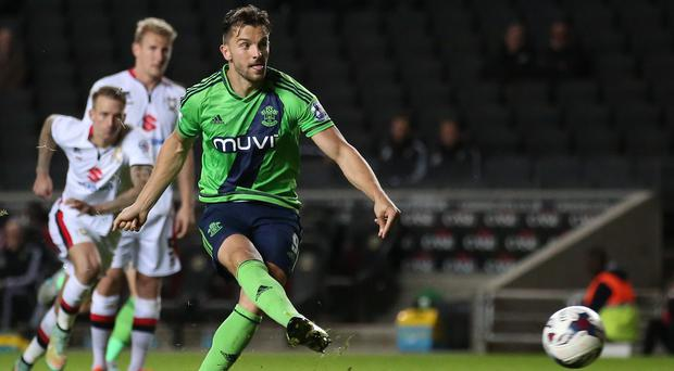 Jay Rodriguez netted twice for Southampton at MK Dons on Wednesday
