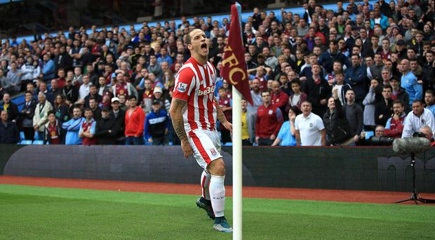Stoke's Marko Arnautovic celebrates scoring against Aston Villa