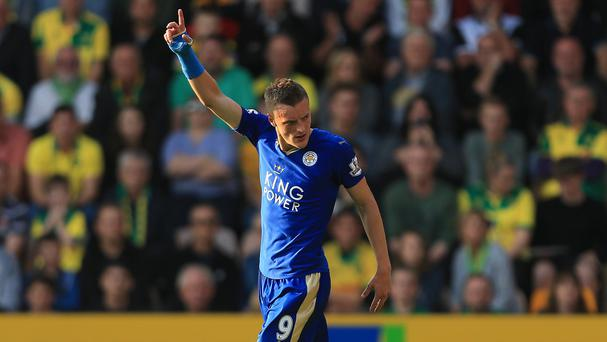Jamie Vardy scored his seventh goal of the season at Carrow Road on Saturday