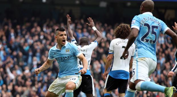 Sergio Aguero, left, was substituted before he could score a history making six goals