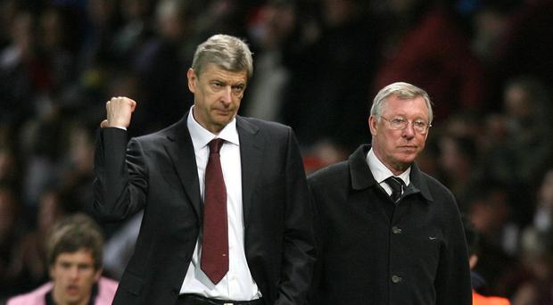 Arsenal manager Arsene Wenger, left, has no immediate plans to follow former Manchester United boss Sir Alex Ferguson, right, into retirement