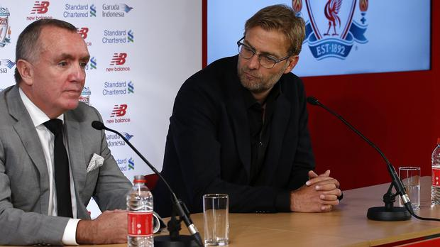New Liverpool manager Jurgen Klopp, right, will have the final say on whether to bring in former players to his backroom team according to chief executive Ian Ayre