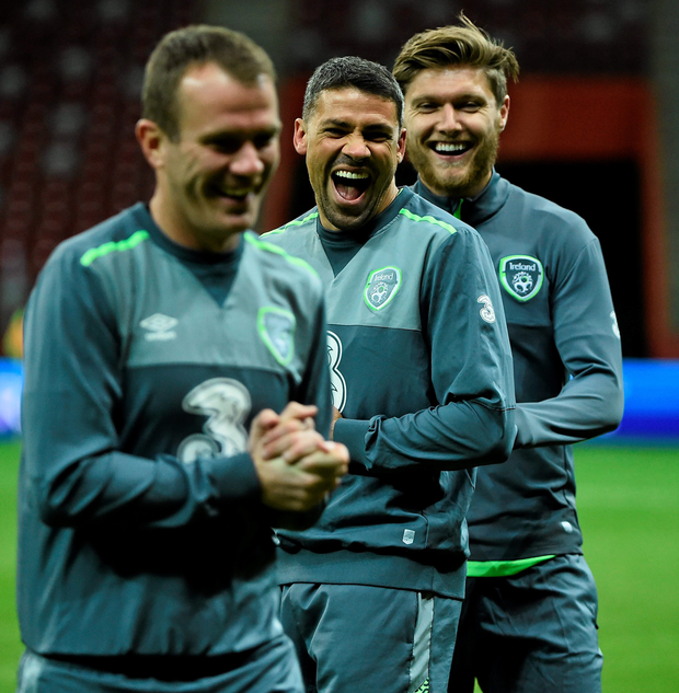 Republic of Ireland's Glenn Whelan, Jonathan Walters and Jeff Henderick, during squad training yesterday evening at the Stadion Narodowy in Warsaw Photo: David Maher
