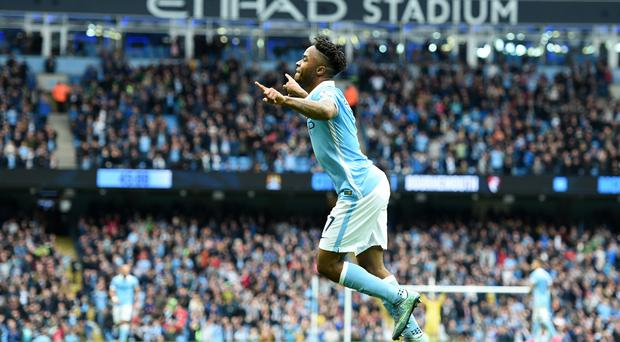 Raheem Sterling scored a first-half hat-trick to make up for the absence of Sergio Aguero