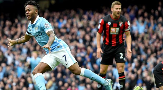 Manchester City's Raheem Sterling scored a hat-trick against Bournemouth