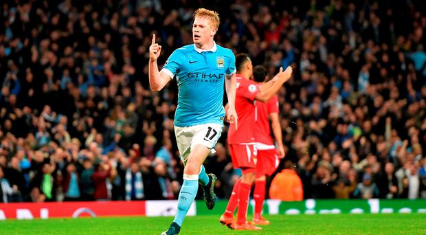 Kevin de Bruyne celebrates after scoring the winning goal for Manchester City against Sevilla on Wednesday night