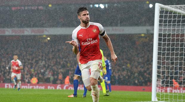 Arsenal's Olivier Giroud was on target in the 2-1 Premier League win over Everton.