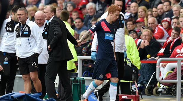 Jack Colback is substituted with the knee injury which could rule him out for up to six weeks