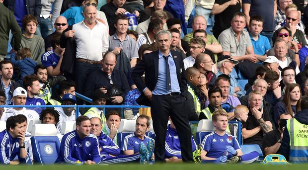 Chelsea manager Jose Mourinho watched as his side lost 3-1 to Liverpool