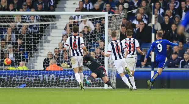 Leicester City's Jamie Vardy, right, scored to seal a 3-2 win at West Brom