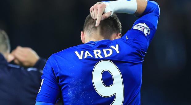 Jamie Vardy scored for the eighth straight game in Leicester's win