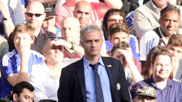 Chelsea manager Jose Mourinho, pictured during the defeat to Liverpool, remains in a job for the time being