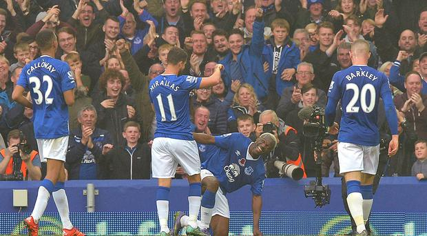 Everton's Arouna Kone celebrates scoring his side's sixth goal, completing his hat-trick against Sunderland