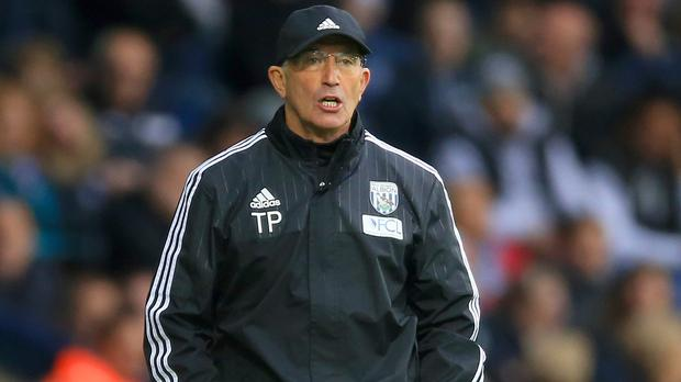 West Brom head coach Tony Pulis, pictured, was upset with referee Anthony Taylor after Saturday's 3-2 defeat to Leicester