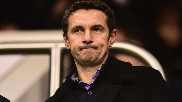 Aston Villa's new manager Remi Garde watched from the stands as they lost to Tottenham
