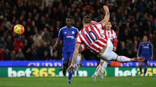 Stoke City's Marko Arnautovic scores the winning goal against Chelsea