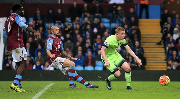 Kevin De Bruyne, right, and the rest of his Manchester City team-mates drew a blank against Villa