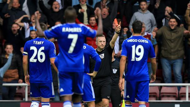 Chelsea players were unhappy with Nemanja Matic's red card at Upton Park