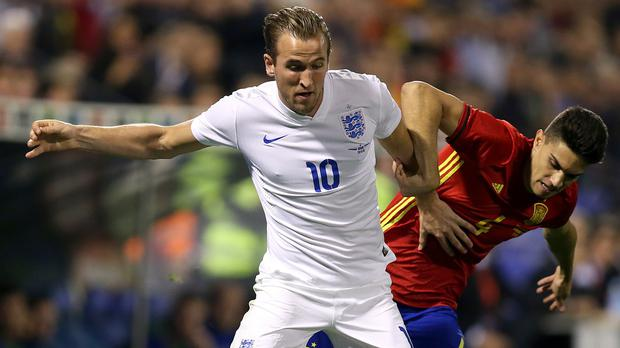 Harry Kane, left, won his seventh England cap against Spain on Friday