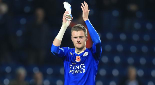 Leicester City's Jamie Vardy has scored in nine straight league games for the Foxes