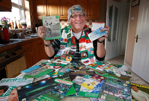 Road to everywhere: Tony Franklin with some of his international match programmes and tickets at his home in Portrane, Co Dublin. Photo: Frank McGrath